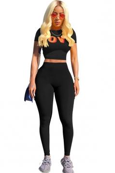 Short Sleeve Print Crop Top&High Waist Leggings Sports Suit Black