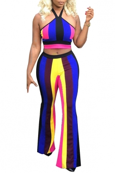 Halter Bandeau Top&High Waisted Bell Bottoms Color Block Suit Sapphire