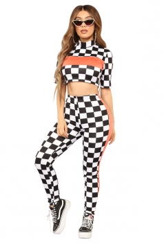 Short Sleeve Crop Top&High Waisted Pants Checker Color Block Suit White