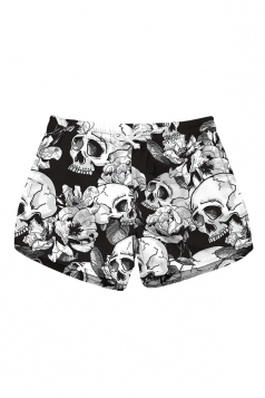 Drawstring Waist Flora Skull Print With Pocket Mini Hot Beach Shorts