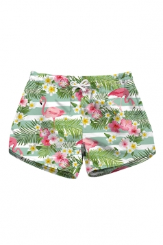 Drawstring Waist Flamingoes Print With Pocket Mini Beach Shorts Beige