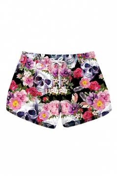 Drawstring Waist Flora Skull Print Mini Hot Beach Shorts Light Pink