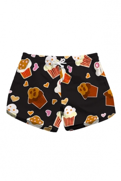 Drawstring Waist Cake Print With Pocket Mini Hot Beach Shorts Brown