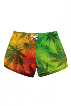 Drawstring Waist Leaves Print With Pocket Mini Hot Beach Shorts Orange