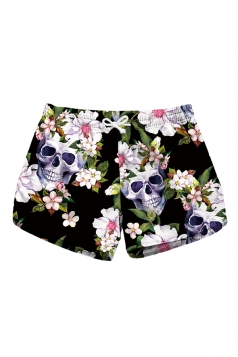 Drawstring Waist Flora Skull Print Mini Hot Beach Shorts Chestnut