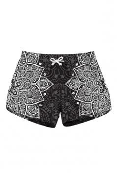Drawstring Waist Print With Pocket Mini Hot Beach Shorts Dull Black
