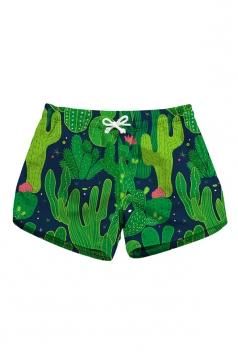 Drawstring Waist Cactus Print With Pocket Mini Beach Shorts Dark Green