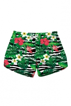 Drawstring Waist Floral Print With Pocket Mini Hot Beach Shorts Green