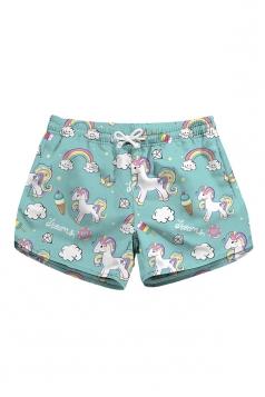 Drawstring Waist Unicorn Print With Pocket Mini Hot Shorts Light Blue
