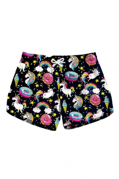 Drawstring Waist Unicorn Print Mini Hot Beach Shorts Light Purple