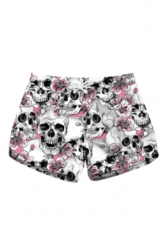 Elastic Waist Flora Skull Print With Pocket Mini Hot Shorts Light Grey