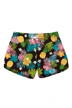 Drawstring Waist Pineapple Print With Pocket Mini Hot Beach Shorts