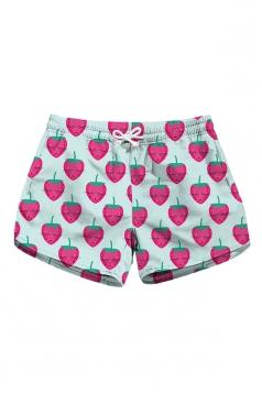 Drawstring Waist Strawberry Print With Pocket Mini Hot Shorts Rose Red