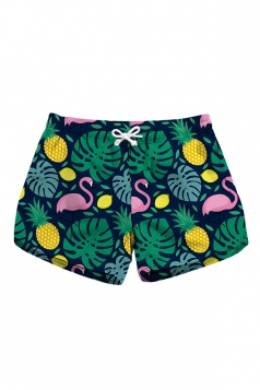 Drawstring Waist Flamingoes Print Mini Hot Beach Shorts Oliver Green