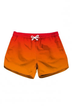 Drawstring Waist Color Block With Pocket Mini Hot Beach Shorts Orange