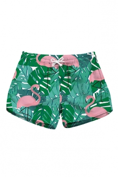 Drawstring Waist Flamingoes Print With Pocket Mini Beach Shorts Pink