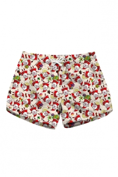 Drawstring Waist Santa Claus Print With Pocket Mini Beach Shorts Red