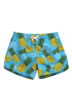 Fast Dry Elastic Waist Pineapple Print Mini Hot Beach Shorts Turquoise