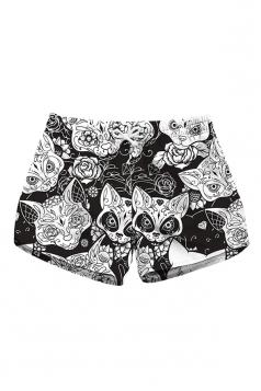 Drawstring Waist Flora Animal Print With Pocket Mini Hot Shorts White