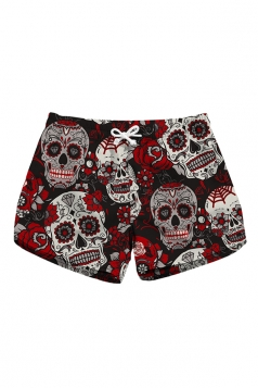 Drawstring Waist Rose Skull Print With Pocket Mini Beach Shorts Ruby