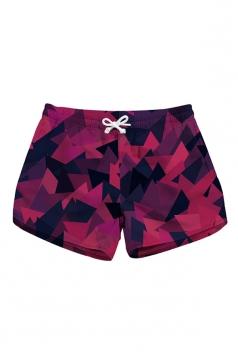 Elastic Waist Geometrical Print With Pocket Mini Beach Shorts Burgundy