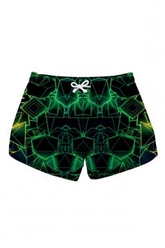 Elastic Waist Print With Pocket Mini Hot Beach Shorts Dark Green