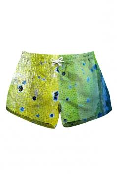 Drawstring Waist Print With Pocket Mini Hot Beach Shorts Green