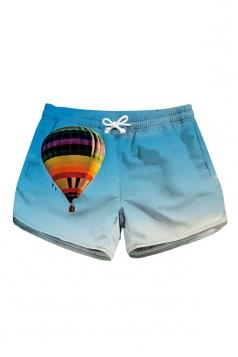 Elastic Waist Fire Balloon Print Mini Hot Beach Shorts Light Blue