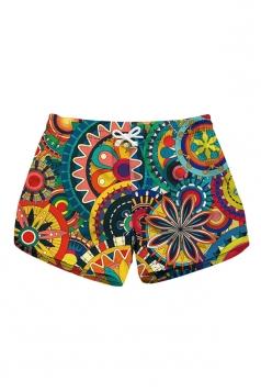 Elastic Waist Print With Pocket Mini Hot Beach Shorts