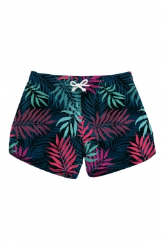 Elastic Waist Leaves Print With Pocket Mini Hot Beach Shorts Rose Red