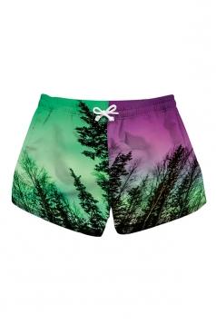 Fast Dry Elastic Waist Trees Print Color Block With Pocket Mini Hot Shorts Purple