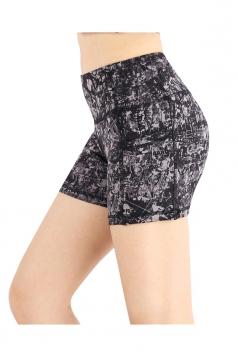 Fast Dry High Waisted Pocket Print Sport Yoga Mini Shorts Black