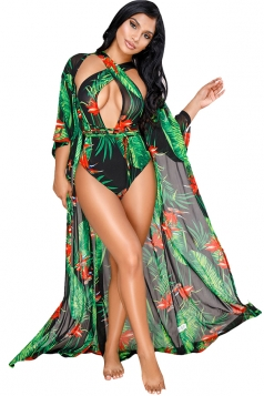 Cross Halter Cut Out Bikini With Half Sleeve Long Beach Cover-Up Green