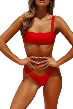 Sexy Sleeveless Bandeau Top&High Cut Bottoms Plain Bikini Red