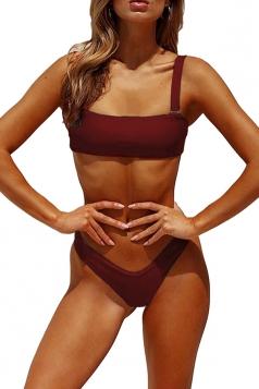 Sexy Sleeveless Bandeau Top&High Cut Bottoms Plain Bikini Ruby