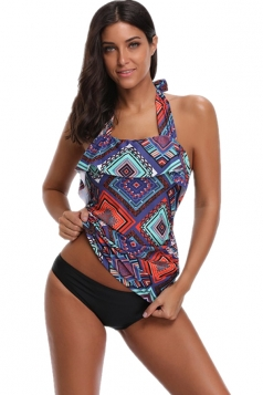Halter Sleeveless Backless Print Two Piece Tankini Swimsuit Purple