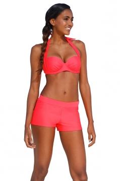 Sexy Halter Backless Top&Beach Bottoms Plain Bikini Set Watermelon Red