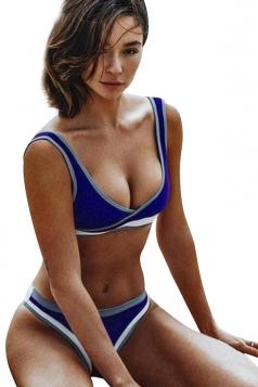 V Neck Backless Top&High Cut Bottoms Color Block Bikini Sapphire Blue