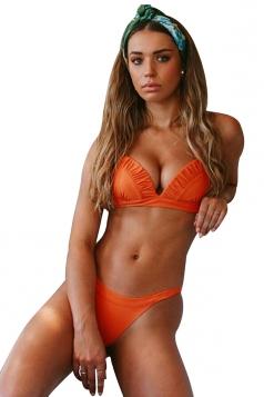 Halter Pleated Back Tie Top&High Cut Bottoms Plain Bikini Orange