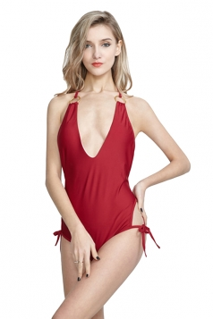 Deep V Neck Halter Side Tie Backless Plain One Piece Swimsuit Red
