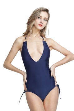 Deep V Halter Side Tie Backless Plain One Piece Swimsuit Navy Blue