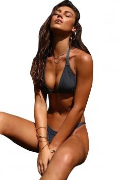 Sexy Halter Back Tie Top&High Cut Bottoms Plain Bikini Set Dark Grey