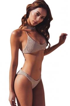 Sexy Halter Shirred Two-Piece Plain Bikini Set Light Grey