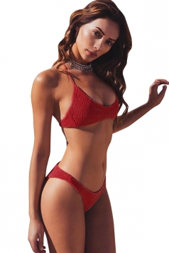 Sexy Halter Shirred Two-Piece Plain Bikini Set Light Red