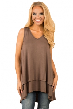 V Neck Sleeveless High Low Ruffle Hem Loose Plain Tank Top Coffee