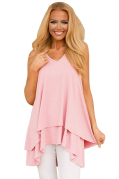 V Neck Sleeveless High Low Ruffle Hem Loose Plain Tank Top Pink