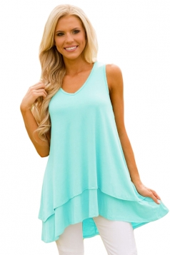 V Neck Sleeveless High Low Ruffle Hem Loose Plain Tank Top Turquoise