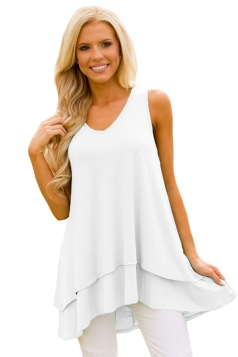 V Neck Sleeveless High Low Ruffle Hem Loose Plain Tank Top White