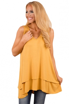 V Neck Sleeveless High Low Ruffle Hem Loose Plain Tank Top Yellow