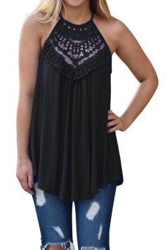 Halter Sleeveless Lace Patchwork Cut Out Loose Tank Top Black